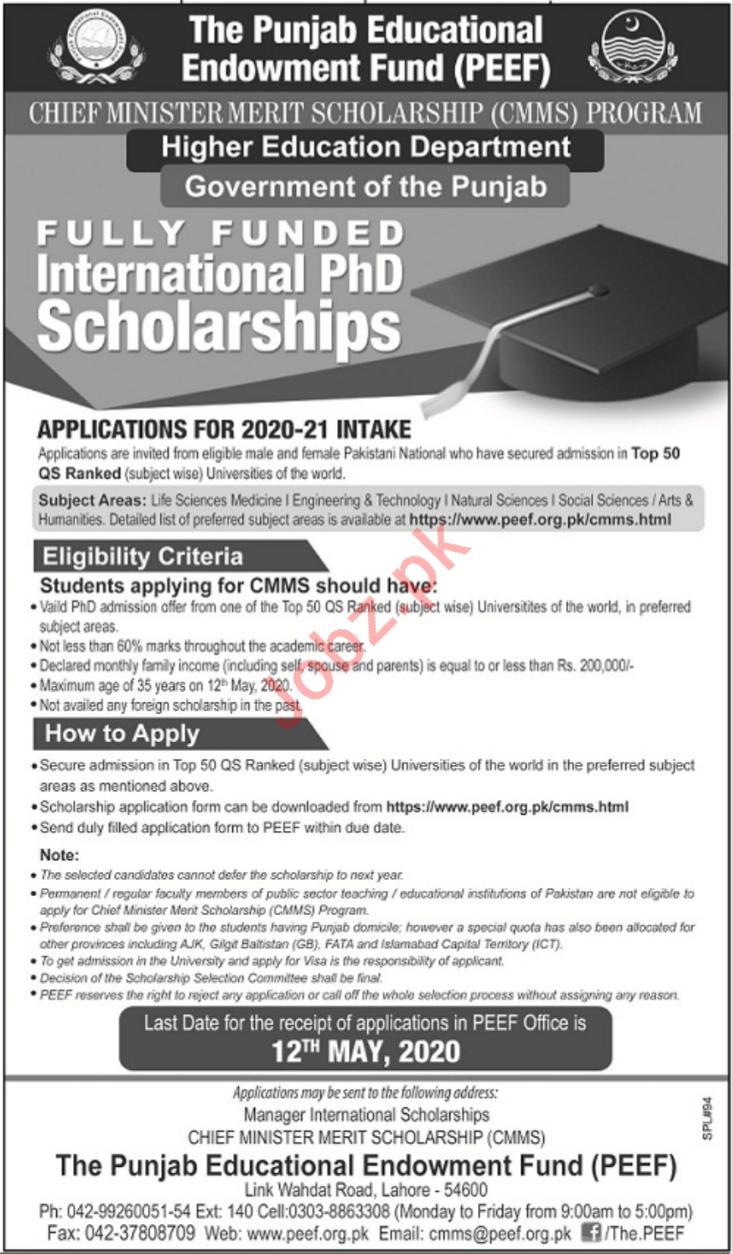 Punjab Higher Education Department Scholarship Program 2020