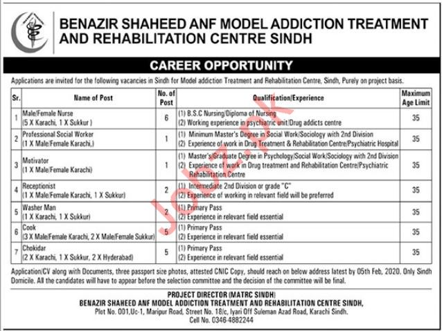 Benazir Shaheed & Model Addiction Treatment Jobs 2020