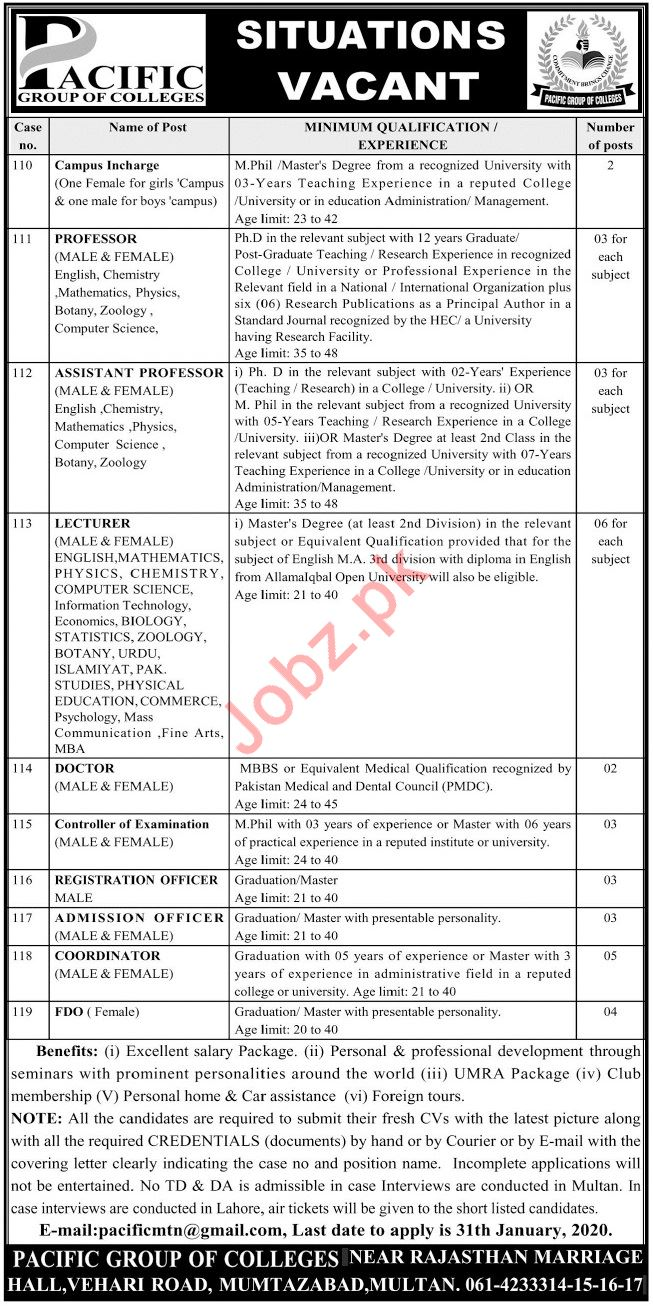 Pacific Group of Colleges Jobs 2020 in Multan
