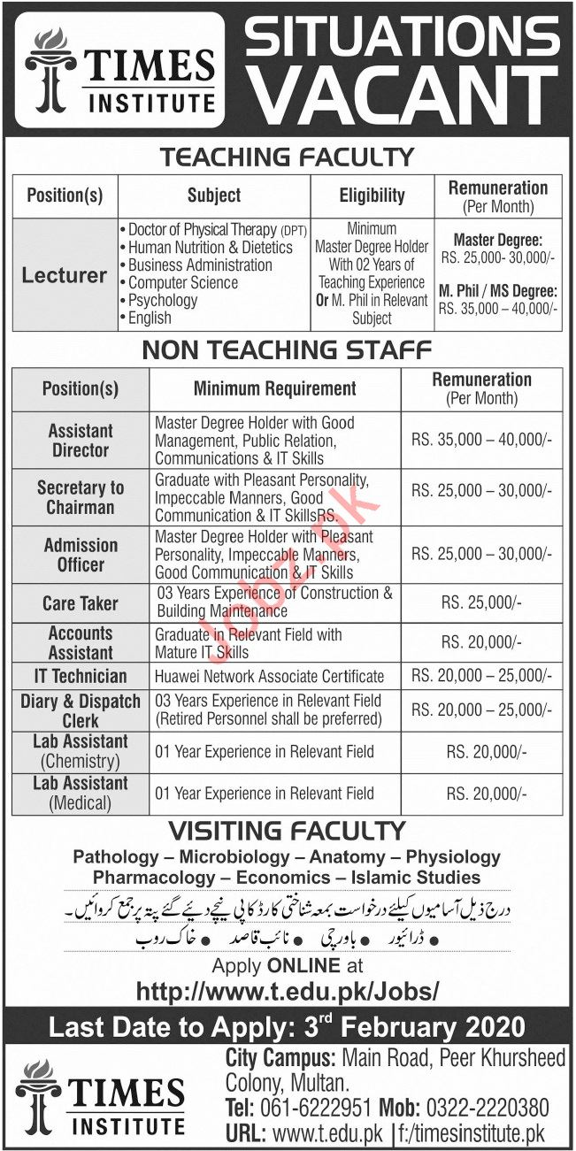 Times Institute Jobs For Teaching & Non Teaching Staff