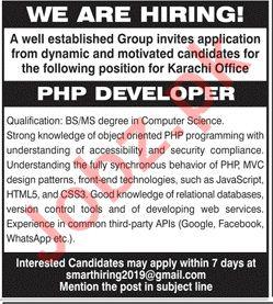 PHP Developer Job 2020 in Karachi