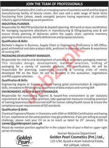 Golden Pearl Cosmetics Company Management Jobs 2020