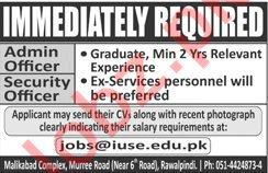Admin Officer & Security Officer Jobs 2020 in Rawalpindi