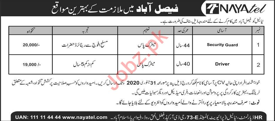Nayatel Pvt Limited Faisalabad Jobs 2020