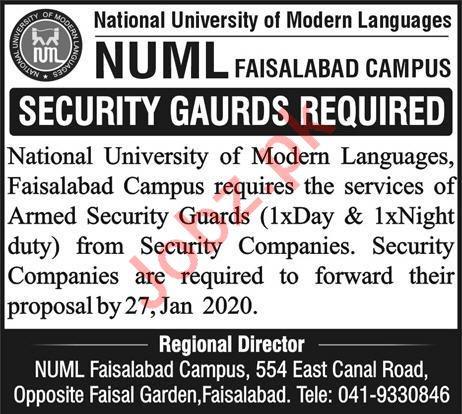 National University of Modern Languages NUML Jobs 2020