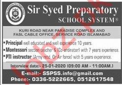 Sir Syed Preparatory School System Islamabad Jobs 2020