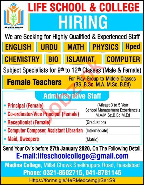 Life School & College Jobs 2020 in Faisalabad
