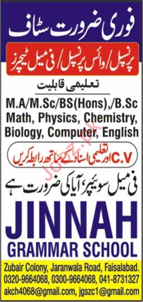 Jinnah Grammar School Jobs 2020 in Faisalabad