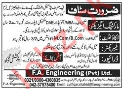 FA Engineering Private Limited Management Staff Jobs 2020