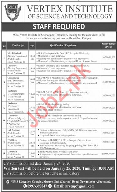 Vertex Institute VIST Abbottabad Campus Jobs 2020