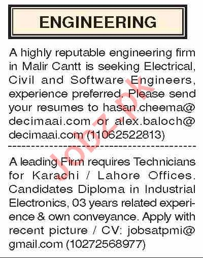Dawn Sunday Classified Ads 19 Jan 2020 for Engineering Staff