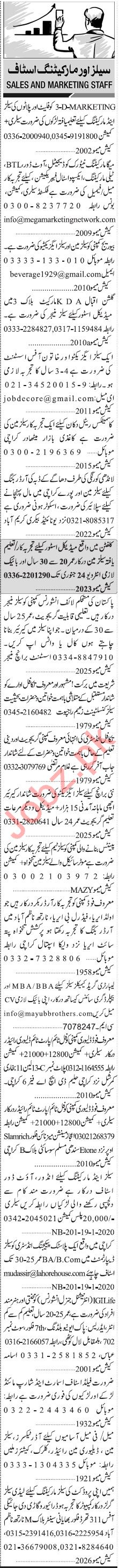 Jang Sunday Classified Ads 19 Jan 2020 for Sales & Marketing