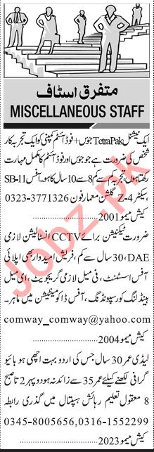 Jang Sunday Classified Ads 19 Jan 2020 for Multiple Staff