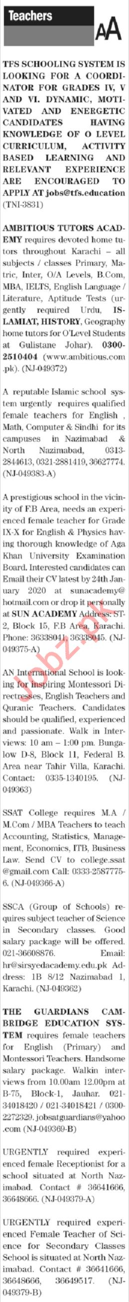 The News Sunday Classified Ads 19 Jan 2020 for Teachers