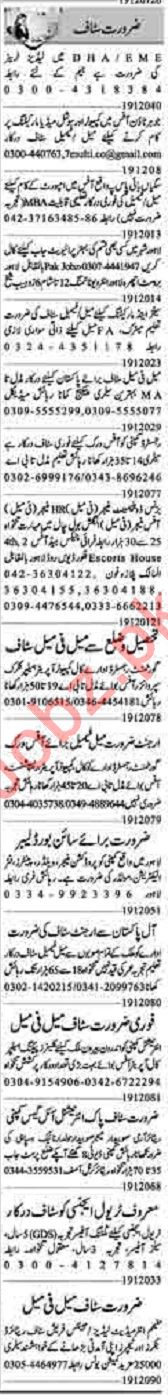 Dunya Sunday Classified Ads 19 Jan 2020 for Office Staff