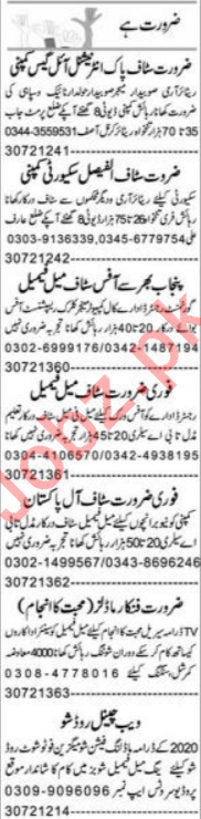 Express Sunday Faisalabad Classified Ads 19 Jan 2020