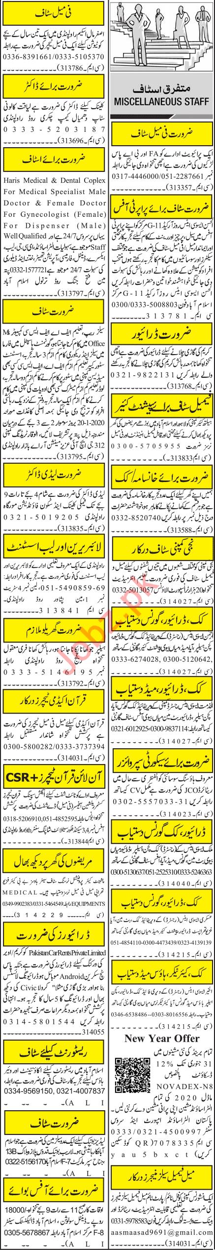 Jang Sunday Rawalpindi Classified Ads 19 Jan 2020