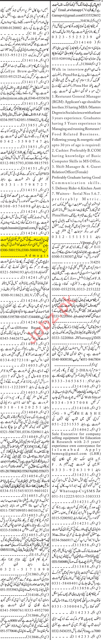Jang Sunday Classified Ads 19 Jan 2020 for Office Staff