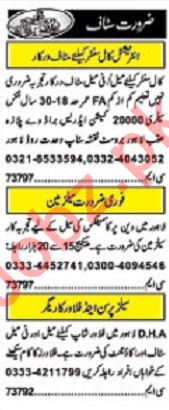Khabrain Sunday Classified Ads 19 Jan 2020 for Office Staff