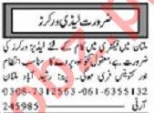 Ladies Worker Jobs 2020 in Multan