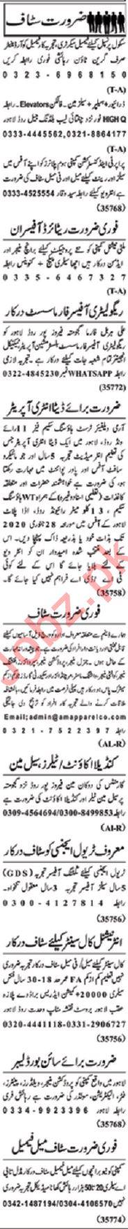 Nawaiwaqt Sunday Classified Ads 19 Jan 2020 Office Staff