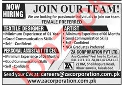 ZA Corporation Private Limited Management Jobs 2020