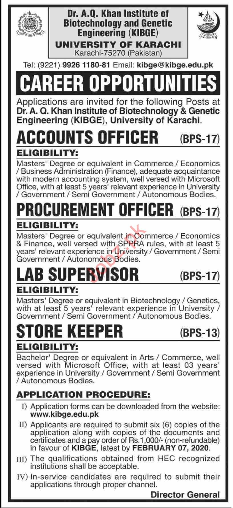 KIBGE University of Karachi Jobs 2020 for Accounts Officer