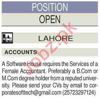 Female Accountant Jobs 2020 in Lahore