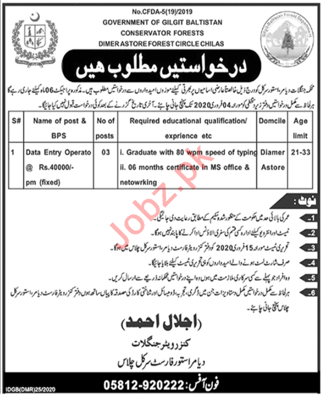 Data Entry Operator Jobs in Conservator Forests Department