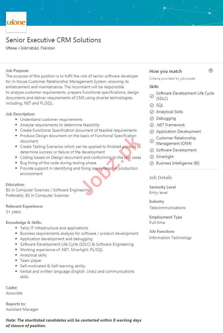 Senior Executive CRM Solutions Job 2020 in Islamabad