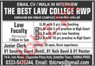 The Best Law College TBLC Walk In Interviews 2020