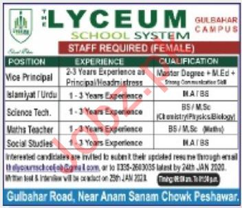 The Lyceum School System Teaching Staff Jobs 2020