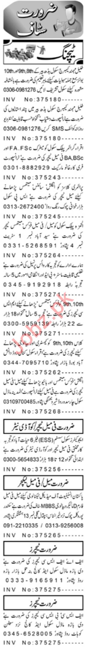 Daily Aaj Teaching Staff Jobs 2020 in Peshawar