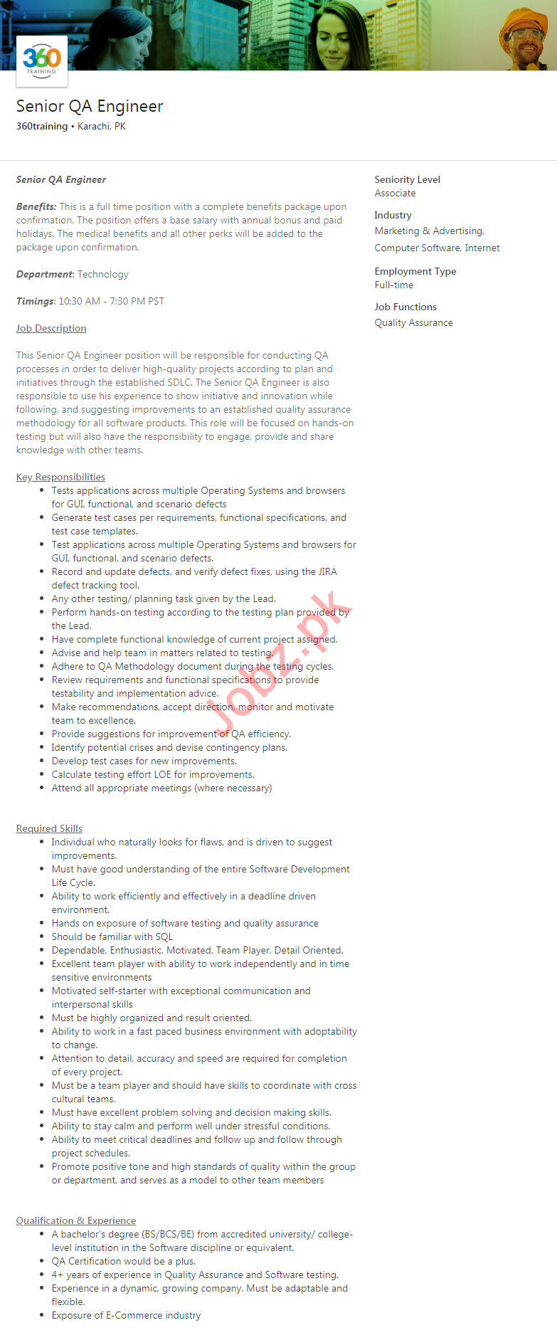 Senior Quality Assurance QA Engineer Job 2020 in Karachi