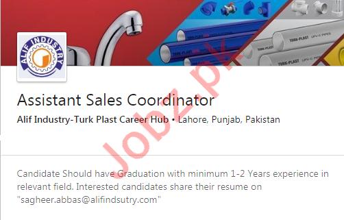 Assistant Sales Coordinator Job 2020 in Lahore