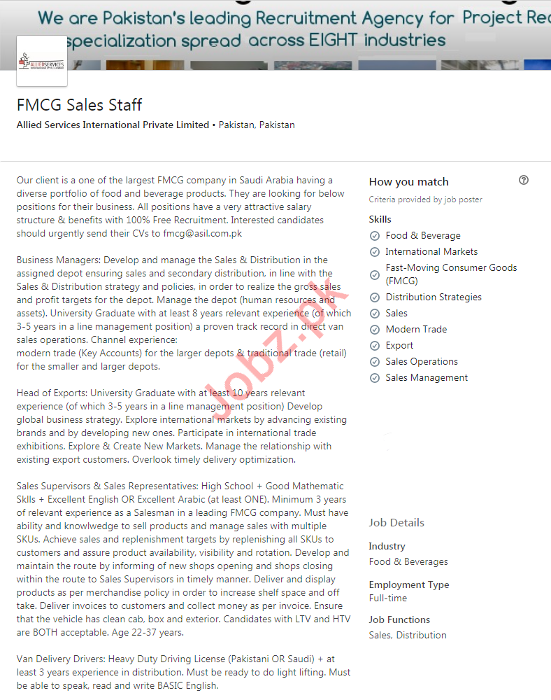 FMCG Sales Staff Jobs 2020 in Rawalpindi