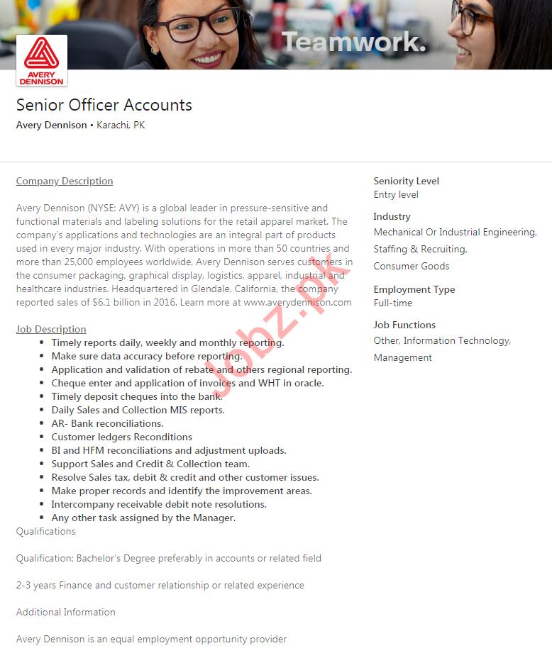 Senior Officer Accounts Job 2020 in Karachi