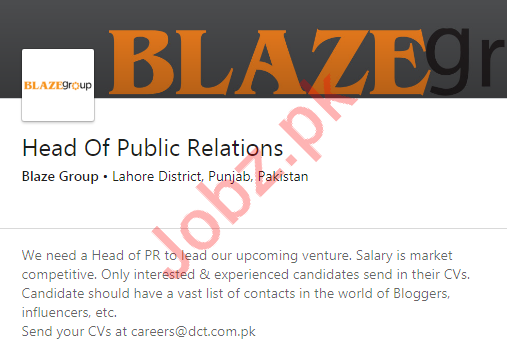 Blaze Group Job For Head of Public Relations in Lahore