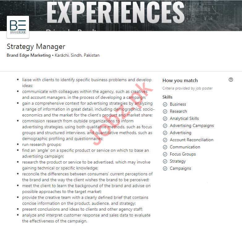 Strategy Manager & Graphic Designer Jobs 2020 in Karachi