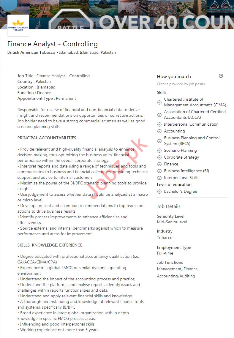 Finance Analyst Controlling Job 2020 in Islamabad