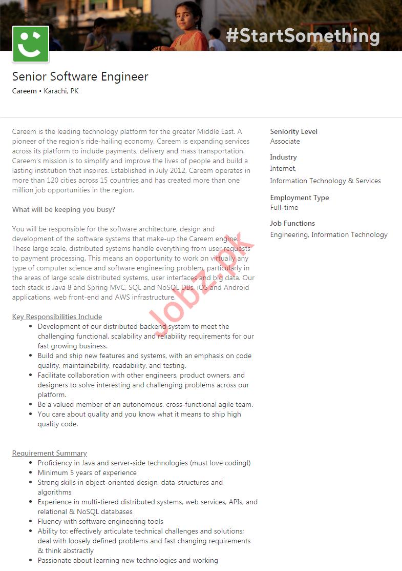 Senior Software Engineer Job 2020 in Karachi