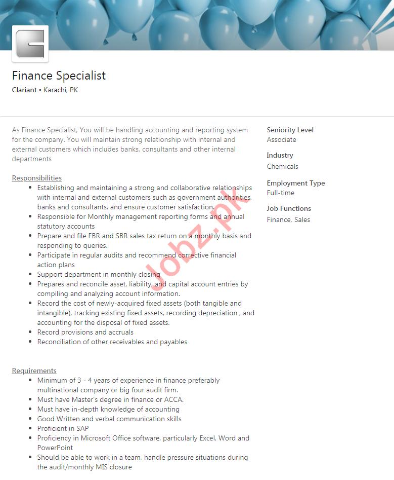 Finance Specialist Job 2020 in Karachi