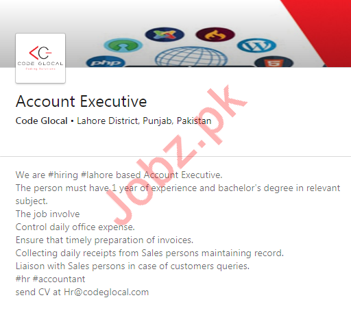 Account Executive Job 2020 in Lahore