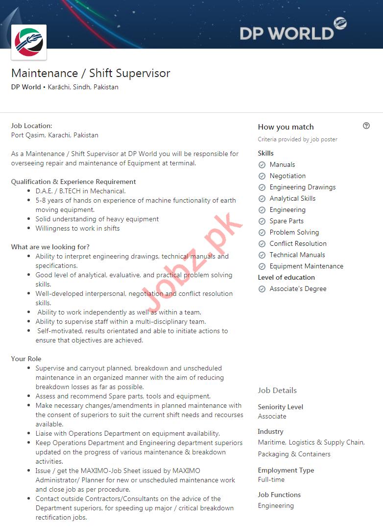 Maintenance Supervisor & Shift Supervisor Jobs 2020