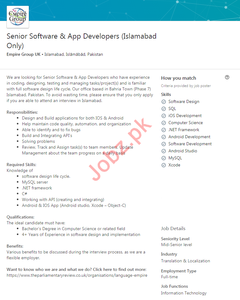 Senior Software & App Developers Jobs 2020 in Islamabad