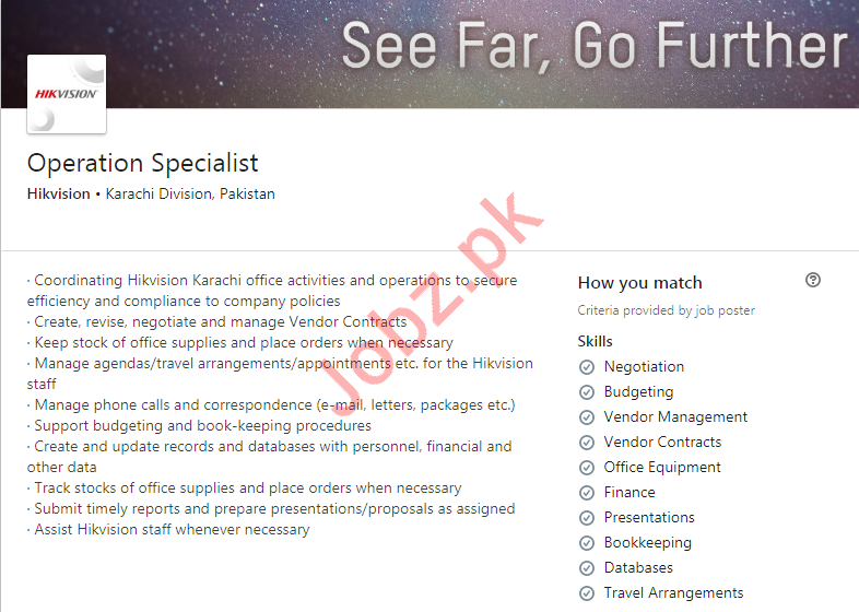 Hikvision Private Limited Job For Operation Specialist