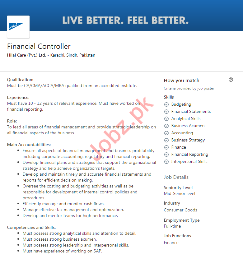 Financial Controller Job 2020 in Karachi