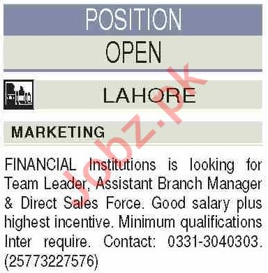 Assistant Branch Manager & Team Leader Jobs 2020