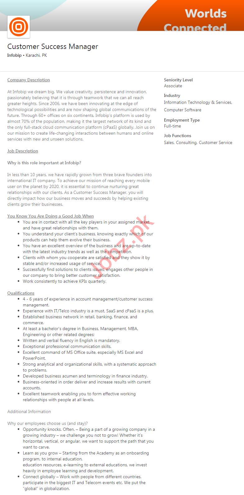 Customer Success Manager Job 2020 in Karachi