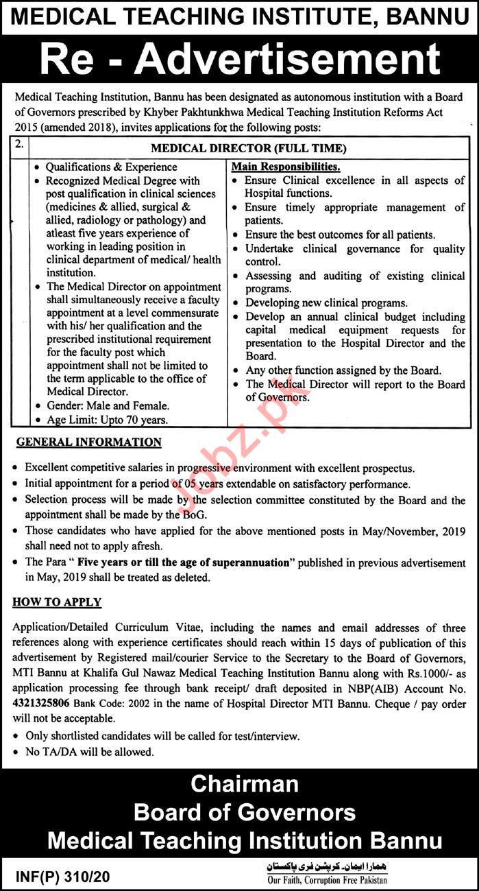 Medical Teaching Institute MTI Job 2020 in Bannu KPK